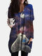Galaxy Cat Print V-neck Long Sleeve Plus Size Blouse With Pockets - Blue