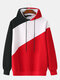 Mens Patchwork Contrast Color Casual Drawstring Hoodies - Red