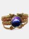 Vintage Galaxy Starry Sky Pattern Butterfly Geometric Shape Hand-braided Glass PU Alloy Multi-layer Bracelet - #05