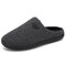 Men Comfy Knitted Fabric Non Slip Soft Warm Home Cotton Slippers - Dark Gray