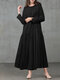 Solid Color Pocket Pleated Long Sleeve Casual Dress for Women - Black