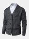 Mens Rib-Knit Button Front Lapel Solid Casual Long Sleeve Cardigans - Dark Gray