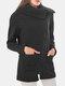 Solid Color Zipper Lapel Coat With Side Pocket For Women - Black
