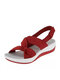 Women Solid Color Bow Decoration Soft Comfortable Beach Sandals - Red