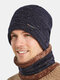 Men 2PCS Plus Velvet Thick Winter Outdoor Neck Protection Headgear Scarf Knitted Hat Beanie - Navy