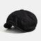 Men Woolen Newsboy Cap Cabbie Lvy Flat Hat Vintage Painter Beret Hats  - Black