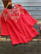 Floral Lace Patchwork 3/4 Sleeve Vintage Blouse - Red