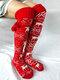 Femmes Noël Elk Tube Stocking Chaussettes en laine Chaussettes décontractées au genou - rouge