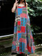 Summer Print Straps Plus Size Dress for Women - Red