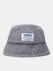 Unisex Denim Letters Korean Labeling Sun Protection Bucket Hat - Blue Gray