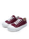 Women Round Toe Classic Casual Lace Up Canvas Court Sneaker Shoes - Wine Red