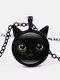 Vintage Black Cat Face Printed Women Necklace Cat Ear Pendant Sweater Chain - Black