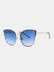 Unisex Metal Cat-eye Frame Hollow Bridge Colorful Lens Anti-UV Sunglasses - #05