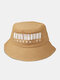 Unisex Cotton Barcode Letter Number Print All-match Sunshade Bucket Hat - Camel