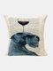 Animal Head Wine Glass Pattern Linen Cushion Cover Home Sofa Art Decor Throw Pillowcase - #07