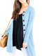Causal Solid Color Long Sleeve O-neck Plus Size Button Cardigan for Women - Light Blue