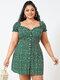 Floral Print Puff Sleeve Plus Size Ruffle Milkmaid Dress - Green