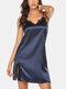 Plus Size Women Faux Silk Lace Trim Side Split Backless Strappy Chemises Sexy Lingerie - Dark Blue