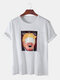 Mens Funny Figure Printed Short Sleeve Round Neck T-shirt - White