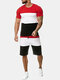 Mens Patchwork Sport Two Pieces Elastic Breathable Training Casual Sets - Red