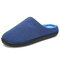 Men Comfy Knitted Fabric Non Slip Soft Warm Home Cotton Slippers - Blue