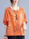 Butterfly Flower Print Plus Size Cotton Linen T-shirt - Orange