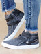 Women Large Size Casual Round Toe Buckle Flat Short boots - Blue