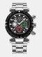 Multifunctional Men Business Watch Luminous Chronograph Calendar Quartz Watch - Black Case Black Dial Silver Ban