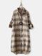 Vintage Plaid Lapel Button Long Sleeve Plus Size Shirt