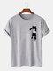 Mens Cartoon Cat Chest Print Cotton Casual Short Sleeve T-Shirts - Gray