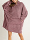 Women Bedsure Cozy Oversized Wearable Blanket Hoodie Warm Double Plush Robe With Large Front Pocket - Pink