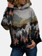 Landscape Printed Long Sleeve Casual Hoodie For Women - Green