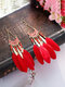 Alloy Feather Bohemia Fringed Feather Earrings Long For Women - Wine Red