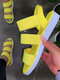 Women Solid Color Casual Comfortable Flat Elastic Band Stripe Sandals - Yellow