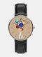 Mens Cartoon Astronaut Colorful Planet Print Quartz Watch - Khaki