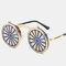 Cross-border Steampunk Clamshell Female Sunglasses Men's Classic Metal Mirror Retro Colorful Sunglasses - #03