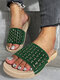 Women Crystals Hollow-out Comfy Pool Shoes Casual Striped Slippers - Green-crystals