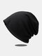 Women Dacron Knitted Solid Color Elastic Warmth Breathable All-match Beanie Hat - Black