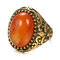 Vintage Metal Carved Rough Stone Ring Geometric Oval Cat Eye Crystal Finger Ring - 03