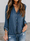 Star Printed Turn-down Collar Button Knot Blouse - Blue