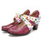 SOCOFY Floral Cutout Genuine Leather Comfy Wearable Ankle Strap Hook Loop Heel Shoes - Purple