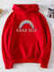 Casual Rainbow Letter Printed Long Sleeve Hoodie With Pocket - Red