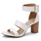 Plus Size Buckle Simple Ankle Strap Stacked High Heel Sandals Open Toe Shoes For Women - White
