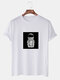 Mens Astronaut Graphic Print Cotton Round Neck Casual Short Sleeve T-Shirts - White
