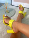 Women Solid Color Square Toe Clip Toe Chunky Heel Slippers - Yellow