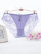 Plus Size Sexy Lace Low Rise See Through Breathable Panties - Light Purple