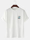 Mens Planet Letter Embroidery Cotton Round Neck Casual Short Sleeve T-Shirts - White