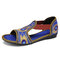 Elastic Band Peep Toe Handmade Embroidered Hollow Out Flat Sandals - Blue