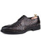 Men Crocodile Embossed Leather Comfy Wearable Lace Up Business Casual Dress Shoes - Black