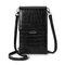 Women Alligator Pattern Phone Bag Flap Solid Crossbody Bag